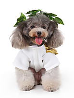 cheap -Dog Halloween Costumes Costume Shirt / T-Shirt Flower Fairy Casual / Sporty Cute Christmas Party Dog Clothes Breathable White Costume Polyester S M L XL