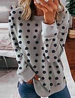 cheap -Women's Blouse Polka Dot Long Sleeve Round Neck Tops Basic Basic Top White Black Gray