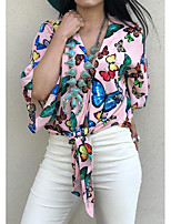 cheap -Women's Blouse Shirt Butterfly Long Sleeve Lace up Print V Neck Tops Loose Basic Basic Top Blushing Pink