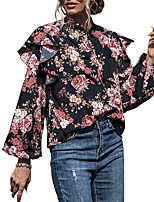 cheap -Women's Going out Blouse Shirt Floral Long Sleeve Lace up Print Round Neck Tops Loose Elegant Sexy Basic Top Black