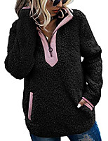 cheap -womens fleece sherpa fuzzy zipper long sleeve loose pullover fashion contrast color-block pockets sweatshirt outwear black