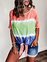 cheap -Women's Blouse Shirt Color Block Print Round Neck Tops Loose Cotton Basic Basic Top Red