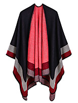 cheap -Women's Cloak / Capes Regular Striped Daily Basic Black Red Camel One-Size