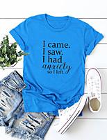 cheap -Women's T-shirt Letter Round Neck Tops 100% Cotton Basic Basic Top White Blue Yellow