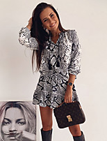 cheap -Women's Sheath Dress Short Mini Dress - 3/4 Length Sleeve Tie Dye Print Summer V Neck Sexy Daily 2020 Black S M L XL