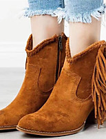 cheap -Women's Boots Wedge Heel Pointed Toe Basic Daily Tassel Leopard Nubuck Booties / Ankle Boots Leopard / Black / Brown