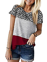 cheap -leopard printed blouses for women causal summer striped leopard tops short sleeve block junior tunics top red l