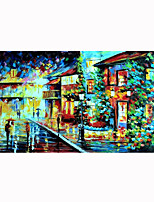 cheap -Unframed Panel Walking In Rain Abstract Modern Wall Art Canvas Hand Painted Oil Painting Picture For Living Room Home Wall Decor Rolled Without Frame