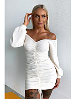 cheap -Women's A-Line Dress Short Mini Dress - Long Sleeve Solid Color Backless Ruched Tassel Fringe Spring Fall Off Shoulder Sexy Daily Loose 2020 White S M L XL