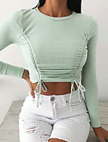 cheap -Women's T-shirt Solid Colored Long Sleeve Drawstring Round Neck Tops Basic Basic Top White Black Light Green
