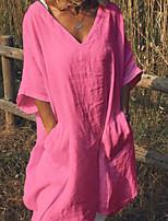 cheap -Women's Shift Dress Knee Length Dress - 3/4 Length Sleeve Solid Color Summer V Neck Casual Cotton Loose 2020 White Black Yellow Fuchsia Green Beige Light Blue S M L XL XXL 3XL 4XL 5XL