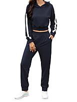 cheap -Women's Sweatsuit 2 Piece Sweatpants Sweatshirt Womens Pullover Sweatshirts Black Blue Side-Stripe Oversized Loose Fit Cowl Neck Solid Color Stripes Cute Sport Athleisure Sweatshirt and Pants Outfits