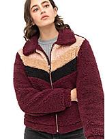 cheap -ll wjc2298 women's faux fur fleece long sleeve zipper loose jacket coat color-block warm fuzzy shaggy outwear pockets s wine