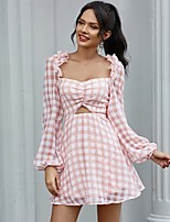 cheap -Women's A-Line Dress Short Mini Dress - Long Sleeve Print Ruched Print Summer Square Neck Sexy Going out Puff Sleeve Slim 2020 Blushing Pink S M L