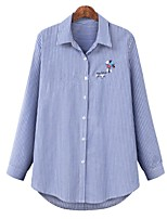 cheap -Women's Blouse Shirt Striped Long Sleeve Embroidered Shirt Collar Tops Basic Basic Top Blue
