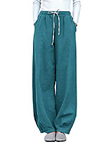 cheap -women's casual cotton linen baggy pants with elastic waist relax fit lantern trousers kz12 blue xl
