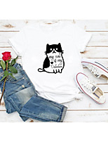 cheap -Women's T-shirt Graphic Prints Letter Print Round Neck Tops Slim 100% Cotton Basic Basic Top White Red