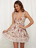 cheap -Women's Swing Dress Short Mini Dress - Sleeveless Print Ruched Patchwork Zipper Summer V Neck Casual Cotton Slim 2020 White S M L XL XXL