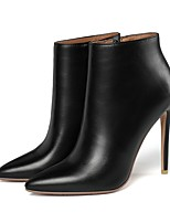 cheap -Women's Boots Pumps Pointed Toe Casual Basic Daily Solid Colored PU Mid-Calf Boots Walking Shoes Black / Red / Beige