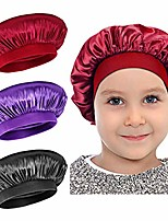 cheap -satin sleep cap - 3 pieces kids hair bonnet elastic wide band hat night hat hair loss cap for salon sleep spa