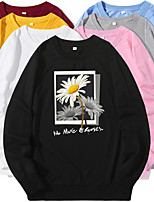 cheap -Women's Sweatshirt Photo Crew Neck Flower Letter Printed Sport Athleisure Pullover Long Sleeve Warm Soft Oversized Comfortable Everyday Use Causal Exercising General Use