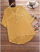 cheap -Women's Blouse Shirt Solid Colored Button V Neck Tops Loose Basic Basic Top White Black Yellow
