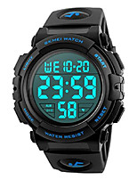 cheap -men 's large face digital outdoor sports waterproof watch led luminous alarm stopwatch simple army (blue)