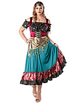 cheap -Gypsy Dress Cosplay Costume Outfits Adults' Women's Cosplay Halloween Halloween Festival / Holiday Polyester Red Women's Easy Carnival Costumes / Headwear / Headwear