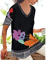 cheap -Women's Tunic Floral Flower Print V Neck Tops Basic Basic Top Black