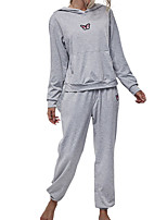 cheap -Women's Sweatsuit Hoodie 2 Piece Set Sweatpants Artistic Style Loose Fit Hoodie Butterfly Sport Athleisure Sweatshirt and Pants Outfits Long Sleeve Warm Soft Oversized Comfortable Everyday Use Causal