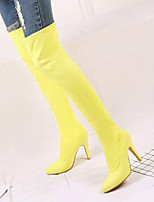 cheap -Women's Boots Stiletto Heel Round Toe Basic Daily Solid Colored Nubuck Over The Knee Boots Black / Purple / Yellow