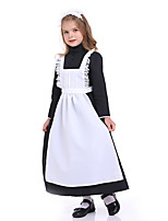 cheap -Maid Costume Dress Cosplay Costume Outfits Kid's Girls' Cosplay Halloween Halloween Festival / Holiday Polyester White Easy Carnival Costumes / Apron / Headwear / Apron / Headwear