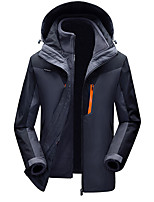 cheap -Men's Hiking Windbreaker Winter Outdoor Patchwork Thermal Warm Windproof Breathable Warm 3-in-1 Jacket Camping / Hiking Hunting Ski / Snowboard Jacinth +Gray / Red / Blue / Grey