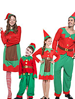 cheap -Santa Claus Cosplay Costume Outfits Group Costume Kid's Adults' Men's Cosplay Halloween Halloween Festival / Holiday Polyester Red Men's Women's Easy Carnival Costumes