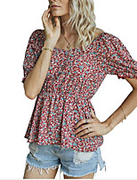cheap -Women's T-shirt Floral Flower Print Flowing tunic V Neck Tops Basic Basic Top Blue Red Beige