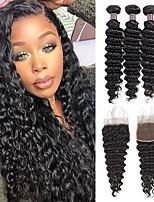 cheap -4 Bundles Hair Weaves Brazilian Hair Deep Wave Human Hair Extensions Human Hair Hair Weft with Closure 8-28 inch Natural Women Natural Youth