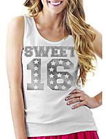 cheap -sweet 16 shirt - silver sweet 16 with stars relaxed tank top - birthday tanks - small - white