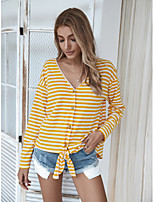 cheap -Women's Blouse Shirt Striped Long Sleeve Knotted V Neck Tops Loose Basic Basic Top Yellow Brown Navy Blue
