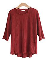 cheap -Women's T-shirt Solid Colored Round Neck Tops Cotton Basic Basic Top Black Red