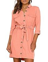 cheap -Women's Shirt Dress Short Mini Dress - Long Sleeve Solid Color Patchwork Spring Shirt Collar Sexy Slim 2020 Black Blushing Pink Army Green Fuchsia S M L XL