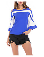 cheap -Women's Blouse Shirt Color Block Patchwork Round Neck Tops Slim Basic Basic Top Black Blue Red
