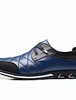 cheap -Men's Fall / Winter Casual Daily Oxfords Walking Shoes Microfiber Wear Proof Black / Blue / Brown