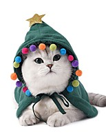 cheap -Dog Cat Costume Holiday Decorations Solid Colored Simple Style Winter Dog Clothes Red Green Costume Flannel Fabric S M L
