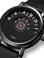 cheap -YAZOLE Men's Sport Watch Quartz Sporty Stylish Casual Water Resistant / Waterproof Analog Black Black / Brown / PU Leather