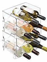 cheap -modern plastic stackable vertical standing wine bottle holder stand - storage organizer for kitchen countertops, pantry, fridge - each rack holds 3 containers, 4 pack - clear