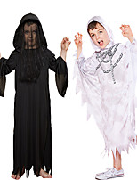 cheap -Ghost Cosplay Costume Outfits Kid's Boys' Cosplay Halloween Halloween Festival / Holiday Polyester White / Black Easy Carnival Costumes / Leotard / Onesie / Leotard / Onesie