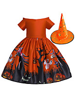 cheap -Witch Dress Hat Kid's Girls' Halloween Halloween Festival / Holiday Cotton Polyster Orange Easy Carnival Costumes