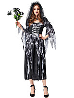 cheap -Ghostly Bride Dress Cosplay Costume Outfits Adults' Women's Cosplay Halloween Halloween Festival / Holiday Tulle Polyester Black Women's Easy Carnival Costumes / Headwear / Headwear