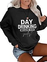 cheap -Women's Daily Pullover Sweatshirt Solid Colored Plain Casual Hoodies Sweatshirts  Loose Oversized White Black