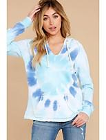 cheap -Women's Pullover Hoodie Sweatshirt Tie Dye Basic Hoodies Sweatshirts  Blue